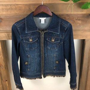 Cabi denim jacket #620 w/fringe and leather